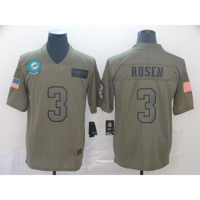 Nike Dolphins 3 Josh Rosen 2019 Olive Salute To Service Limited Men Jersey