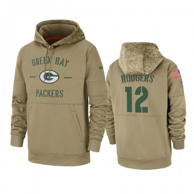 Nike Green Bay Packers 12 Aaron Rodgers Tan 2019 Salute to Service Sideline Therma Pullover Hoodie