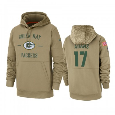Nike Green Bay Packers 17 Davante Adams Tan 2019 Salute to Service Sideline Therma Pullover Hoodie