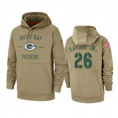 Nike Green Bay Packers 26 Darnell Savage Tan 2019 Salute To Service Sideline Therma Pullover Hoodie