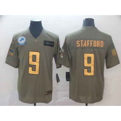 Nike Lions 9 Matthew Stafford 2019 Olive Gold Salute To Service Limited Men Jersey