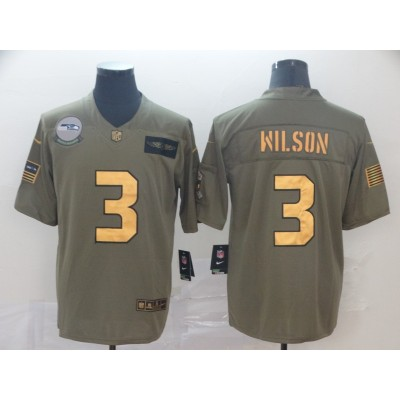 Nike Seahawks 3 Russell Wilson 2019 Olive Gold Salute To Service Limited Men Jersey