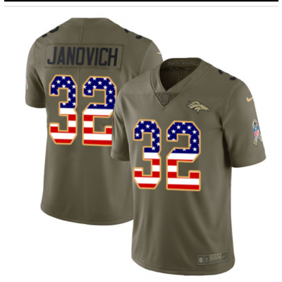 #32 Limited Andy Janovich Olive/USA Flag Nike NFL Jersey Denver Broncos 2017 Salute to Service