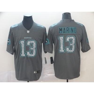 Nike Dolphins 13 Dan Marino Gray Static Vapor Untouchable Limited Men Jersey