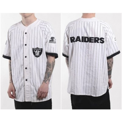 NFL Raiders Vintage Starter Pinstripe Customized White Men Jersey