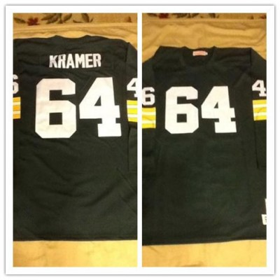 NFL Packers 64 Jerry Kramer Mitchell & Ness Customized Green Long Sleeves Men Jersey
