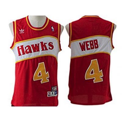 NBA Hawks 4 Spud Webb Hardwood Classics Red Adidas Men Jersey