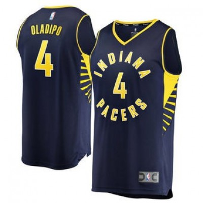 NBA Pacers 4 Victor Oladipo Navy Blue Men Jersey