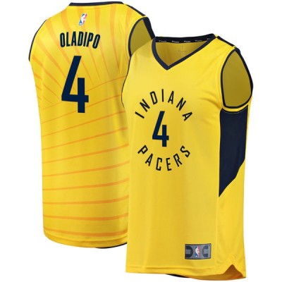 NBA Pacers 4 Victor Oladipo Gold Blue Men Jersey