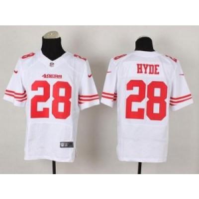 San Francisco 49ers No.28 Carlos Hyde White Elite Men's Football Jersey