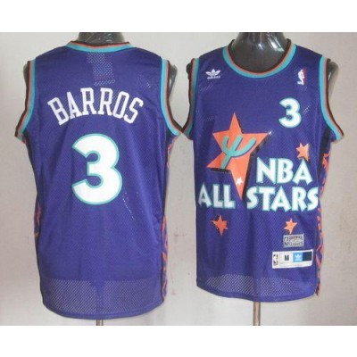 NBA 76ers 3 Dana Barros Purple 1995 All Star Throwback Men Jersey