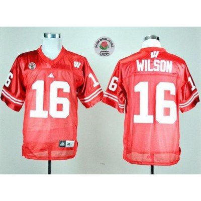 NCAA Wisconsin Badgers 16 Russell Wilson Red Rose Bowl Game Men Jersey