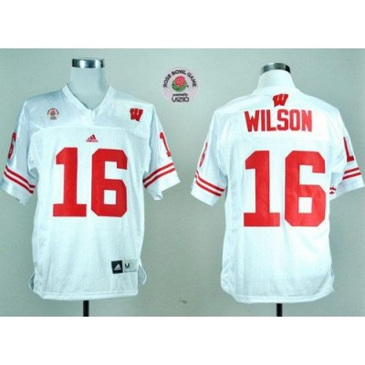 NCAA Wisconsin Badgers 16 Russell Wilson White Rose Bowl Game Men Jersey