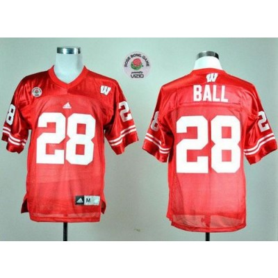 NCAA Wisconsin Badgers 28 Montee Ball Red Rose Bowl Game Men Jersey