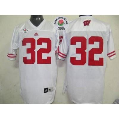 NCAA Wisconsin Badgers 32 White Rose Bowl Game Men Jersey