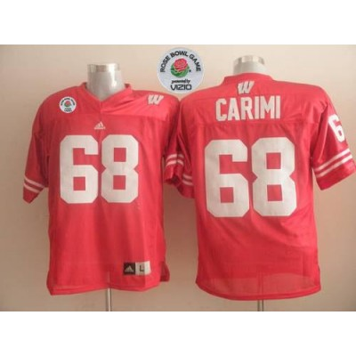 NCAA Wisconsin Badgers 68 Gabe Carimi Red Rose Bowl Game Men Jersey