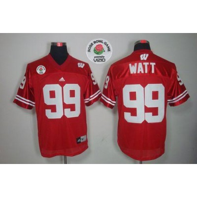 NCAA Wisconsin Badgers 99 J.J. Watt Red Rose Bowl Game Men Jersey