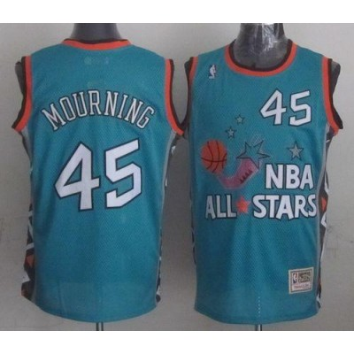 NBA Heat 45 Alonzo Mourning Light Blue 1996 All Star Mitchell And Ness Men Jersey