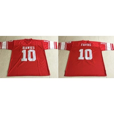 NFL High School Hawks 10 Brett Favre Customized Red Men Jersey