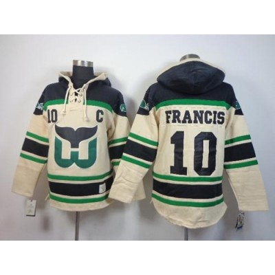 NHL Whalers 10 Ron Francis Cream Men Sawyer Hooded Sweatshirt