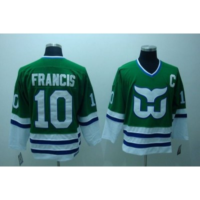 NHL Whalers 10 Ron Francis CCM Throwback Green Men Jersey