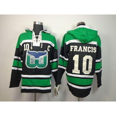 NHL Whalers 10 Ron Francis Green-Black Men Sawyer Hooded Sweatshirt