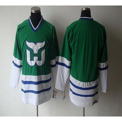 NHL Whalers Blank CCM Throwback Green Men Jersey