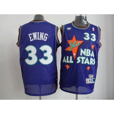 NBA Knicks 33 Patrick Ewing All Star Swingman Blue Mitchell And Ness Men Jersey