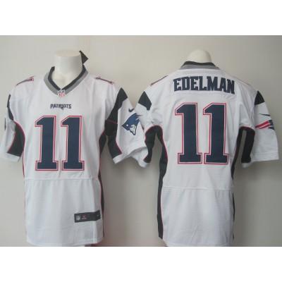NFL New England Patriots 11 Julian Edelman White Men Nike Elite Jersey New Logo
