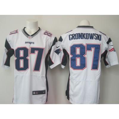 NFL New England Patriots 87 Rob Gronkowski White Men Nike Elite Jersey New Logo