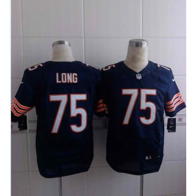 NFL Chicago Bears 75 Kyle Long Nike Elite Men Blue With White Number Jersey