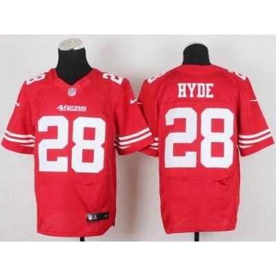 San Francisco 49ers No.28 Carlos Hyde Red Elite Men's Football Jersey