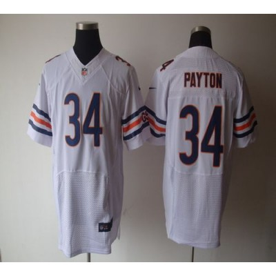 Nike NFL Chicago Bears 34 Walter Payton White NFL Elite Football Jersey