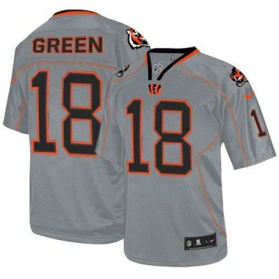 Nike Bengals #18 A.J. Green Lights Out Grey Youth Embroidered NFL Elite Jersey