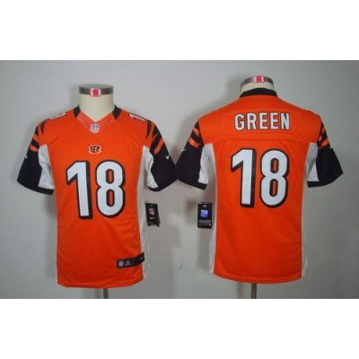 Youth Nike Cincinnati Bengals 18 A.J. Green Orange NFL Limited Jersey
