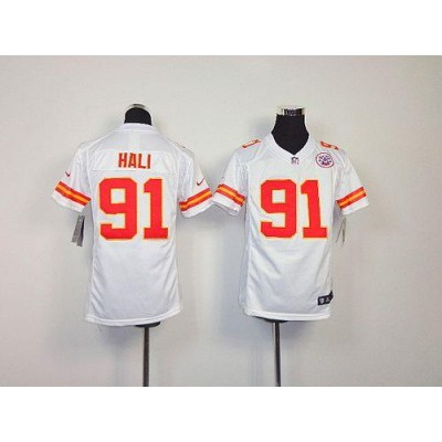 Youth Nike Kansas City Chiefs 91 Tamba Hali White NFL Elite Jersey