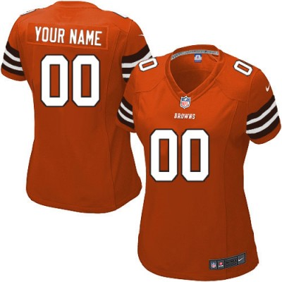 Nike Cleveland Browns Customized Orange Elite Women's NFL personalized Jerseys