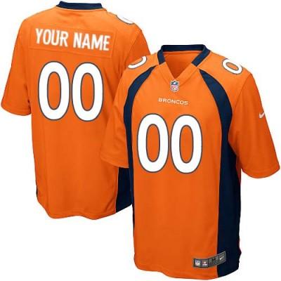 Nike Denver Broncos Customized Orange Elite Youth NFL personalized Jerseys