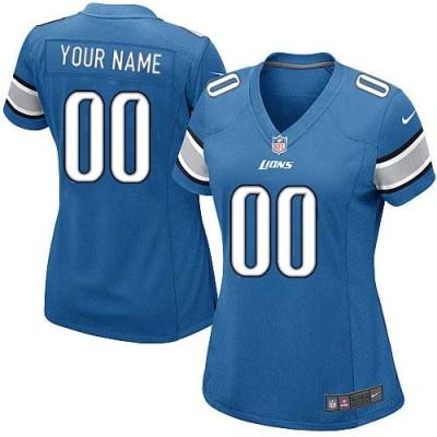 Nike Detroit Lions Customized Light Blue Elite Women's NFL personalized Jerseys
