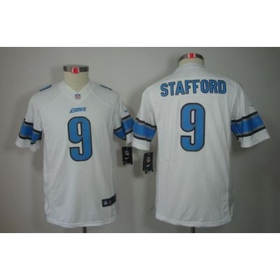 NFL Nike Lions #9 Matthew Stafford White Youth Stitched NFL Limited Jersey