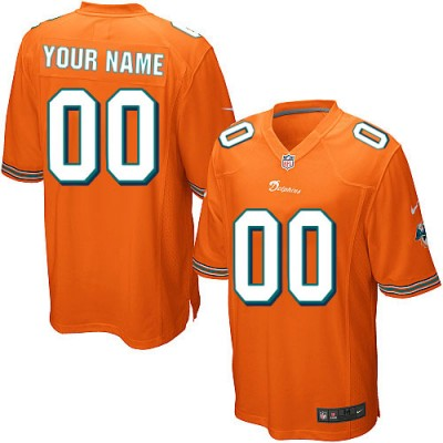 Nike Miami Dolphins Customized Orange Elite Youth NFL personalized Jerseys