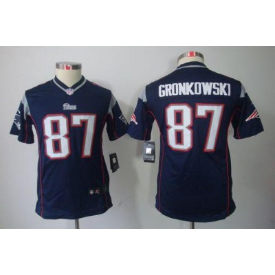 Youth Nike New England Patriots 87 Rob Gronkowski Navy Blue NFL Limited Jersey