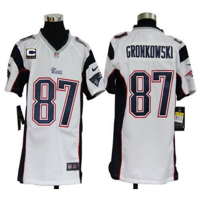 Youth Nike New England Patriots 87 Rob Gronkowski White C Patch NFL Elite Jersey