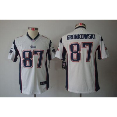 Youth Nike New England Patriots 87 Rob Gronkowski White NFL Limited Jersey