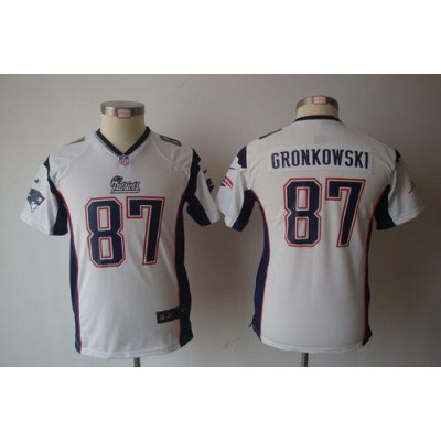 Youth Nike New England Patriots 87 Rob Gronkowski White NFL Game Jersey