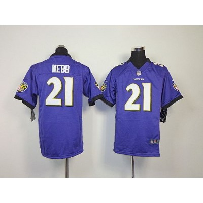 Youth Nike Baltimore Ravens 21 Lardarius Webb Purple NFL Elite Jersey