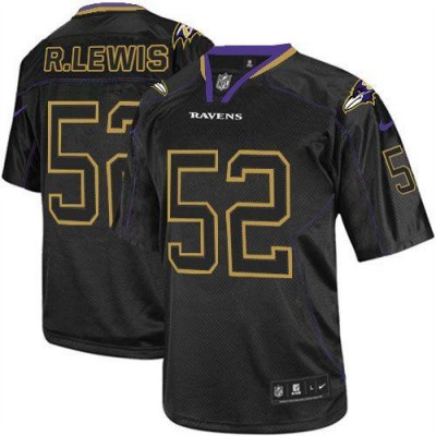 Nike Baltimore Ravens No.52 Ray Lewis Lights Out Black Youth Embroidered NFL Elite Jersey