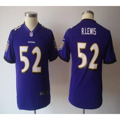 Youth Nike Baltimore Ravens 52 Ray Lewis Purple NFL Game Jersey