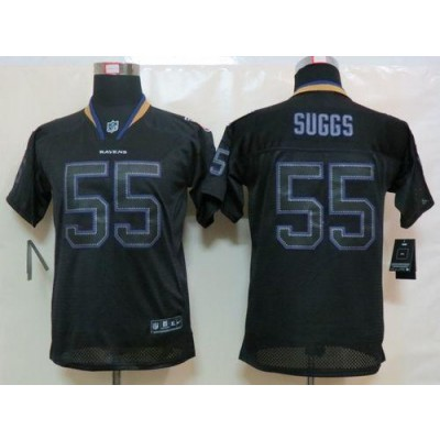 Nike Baltimore Ravens No.55 Terrell Suggs Lights Out Black Youth Embroidered NFL Elite Jersey