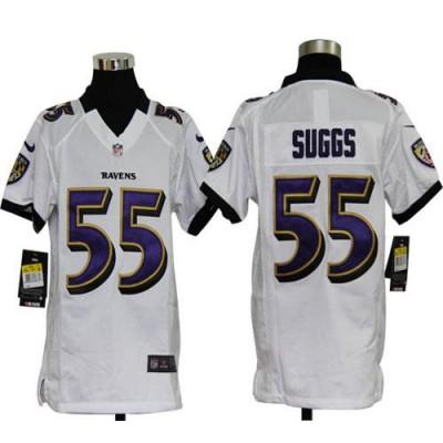 Youth Nike Baltimore Ravens 55 Terrell Suggs White NFL Elite Jersey
